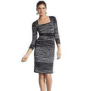 White House Back Market Striped Rouched Dress XS